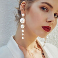 New Fashion Women Pearl Long Dangle String Statement Earrings Jewelry Party Gift