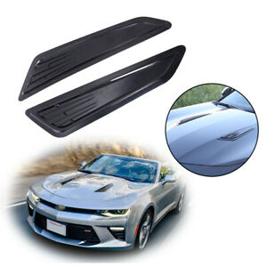 1 Pair SS Style Black Bonnet Hood Vent Scoop Covers For 2016-18 Chevrolet Camaro
