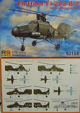 Flettner FI-282 B-2, Luftwaffe Helikopter , RS- Models, Plastik, Neu