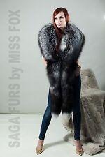 New: Saga silver fox fur stole.X-Large. Detachable tails