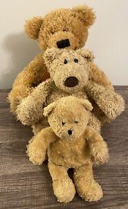Lot Of 3 Classic Brown Soft Teddy Bears Russ Brawson + Gund + Princess Plush Toy