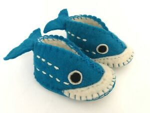 Handmade 100% Wool Blue Baby Shark Shoes Booties Slippers Infant S M