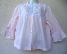 "Vintage BED JACKET Pink Short Robe Peignoir Fairy Kei Femme LACE M L  44"" Bust"