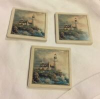 "❤️Set of 3 Stone Art ""The Absorbent Coaster"" Coasters Lighthouse Cork Backs EUC"