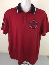 Emporio Armani Men Polo Shirt Large Red W/ Ebroidered Label - Very Good Conditio