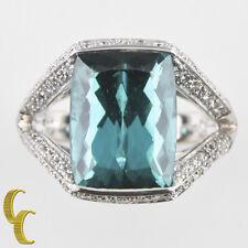 18Ct Oro Blanco para Mujer Indicolita Turmalina & Anillo con Diamante Talla 5.5