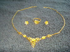 BEAUTIFUL .9999 24 KT SOLID  GOLD NECKLACE,RING AND EARRING MATCHED SET