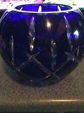 Antique Bohemian Cobalt Blue Crystal Cut Votive Bowl Globe Art Glass Inlay Rare
