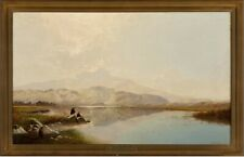 LISTED Edwin Boddington Mountain Lake View Large Old Antique Oil Painting NO RES