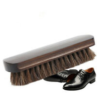Shoe Shine Buffing Brush Horsehair Horse Hair Wood Handle Boot Polishing MA