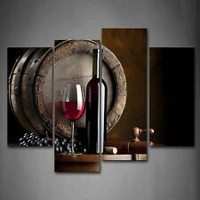 Wine And Fruit With Glass And Barrel Wall Art Painting For Kitchen Decoration