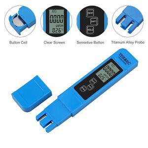 Medidor de pH TDS EC Digital LCD 3 en 1 Probador Multifuncional Pluma Kit Azul