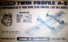 TRIXTER TWIN PROFILE A-B PLANS + INSTRUCTIONS for 1949 UC Stunt Model Airplane