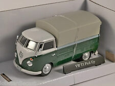 VOLKSWAGEN T1 Covered Pickup in Green / White 1/43 scale model by Cararama
