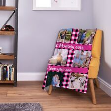 Large Warm Sofa Fleece Personalised Pink Gingham Design Photo Blanket 9 Images
