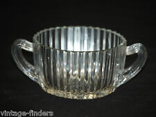 Queen Mary Clear Anchor Hocking Ribbed Depression Sugar Bowl w Starburst Center