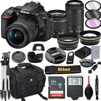 Nikon D5600 Black DSLR Camera w/ 18-55mm +70-300mm VR Lenses + 21pc Bundle