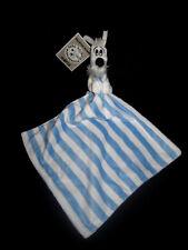 Doudou Chien Blanc Noir Idéfix et son mouchoir carré rayé bleu Parc Astérix