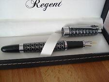 Stylo plume,noir,guilloche argent,Regent,garantie,coffret, grave GENERAL