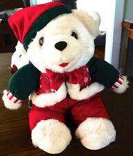 "Christmas Teddy Bear 13"" White Boy Red & Green Bow Tie"