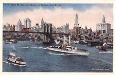 CPA MARINE PAQUEBOT NEX YORK SKYLINE AND BROOKLYN BRIDGE EAST RIVER