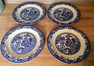 4 Vintage Masons Ironstone Dinner Plates Willow