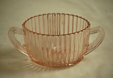 Vintage Queen Mary Pink Depression Glass Anchor Hocking Open Sugar Bowl Ribbed