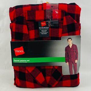 Mens M Hanes Flannel Pajama Set Buffalo Check Red Black 2 Piece Shirt Pants