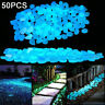 50Pcs Glow In The Dark Pebble Stones Luminous Garden Walkway Flower Bed ORNATE