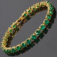 26x6mm Round Cut Green Emerald Dainty Gemstone 18K Gold Plated Tennis Bracelet