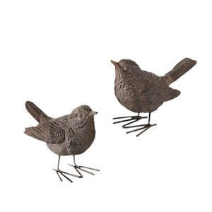 2x Deko Vogel Spatz Figur 6cm klein Rost für Garten Dekoration Tier Kunstharz