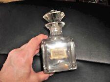 ANTIQUE HEAVY GLASS PERFUME BOTTLE & STOPPER ESSENCE DE FLEURS DURAND FILS c1900