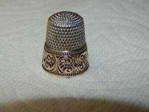 Antique Gorham Sewing Thimble Sterling Silver & 10K Gold