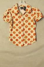 S6297 Baby Phat Girls Medium Cream/Orange Geometric Pearl Snap Cap Sleeve Shirt