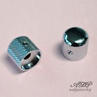 2x Boutons Metal Gotoh Tele Dome Knobs 18x18mm SplitShaft Pots 6mm SmallGrip CHR