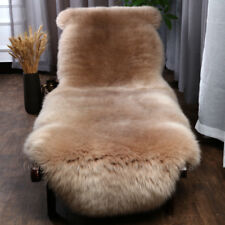 Camel Genuine Sheepskin Rugs Thick Long Wool Carpets Rugs Real Fur Hide Lambskin