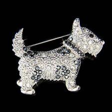 w Swarovski Crystal WESTIE Scottie SCOTTISH TERRIER Puppy DOG Pet Pin BROOCH New