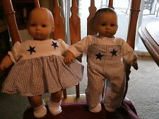 Bitty Baby boy&girl TWINS set blue&white w star accents overall&tee/dress/socks