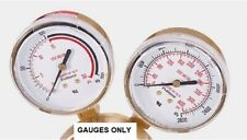 "Pressure Gauges 2"" High 400 PSI & Low 30 PSI For Acetylene Regulator"