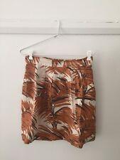 Gorgeous GORMAN 100% linen skirt size 10 neutral Palm Print