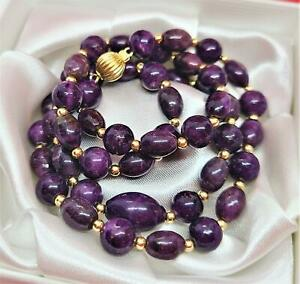 """RARE NATURAL PURPLE AFRICAN SUGILITE OVAL & ROUND BEADs 14K GOLD NECKLACE 22"""""""