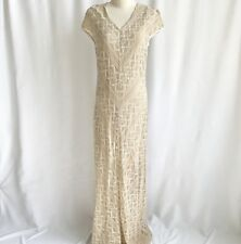 Cartise International Nude/Tan Lace Floor Length Maxi Dress Size 8