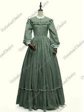 Victorian Dickens Green Plaid Pioneer Women Tartan Dress Civil War Costume 260