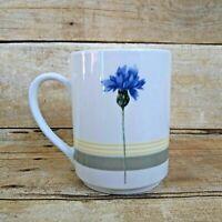 Studio Nova Blue Bonnet Thistle Green Yellow Stripe Coffee Mug Fine Porcelain