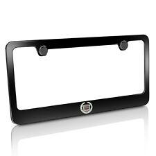Cadillac Logo Black Metal License Plate Frame, Official Licensed, Warranty