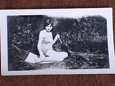 1930 Bathing Beauty in Swimsuit Seated on Ground Holding Parasol/Snapshot Photo
