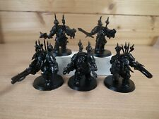 5 PLASTIC WARHAMMER CHAOS SPACE MARINE TERMINATORS BASE PAINTED (1532)