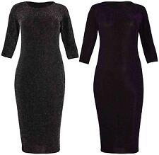 Womens New Half Sleeve Ladies Glitter Bodycon Tunic Sparkle Midi Dress Plus Size
