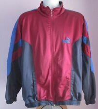 VTG Mens PUMA Burgundy/Blue Polyester Track Suit Sport Top Size Large (b34)