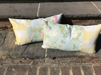 Pair Of Unique Laura Ashley Summer Palace Duck Egg, Gingham Cushions.